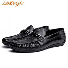 Hanmce new mens genuine leather shoes loafer luxury casual shoes handmade crocodile shoes driving shoes slip-on basic flat shoes