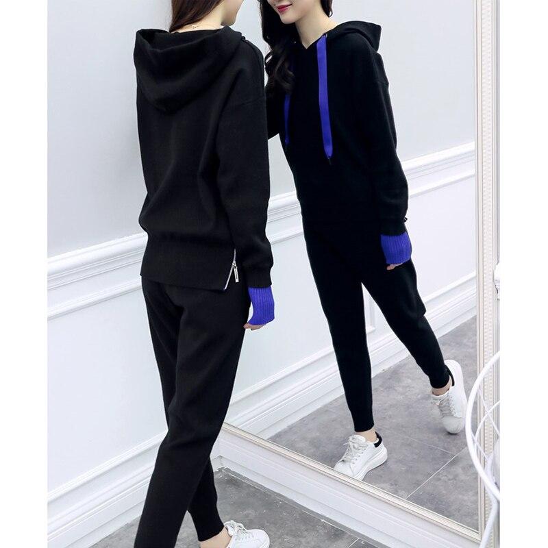 Tricoté Longues Costume Nouvelles Pantalon Okxgnz Était Décontracté Black Grande Mince Printemps Deux Mode Taille À 2019 Femelle Manches Long pièce Femmes De Marée dPIqPxZw