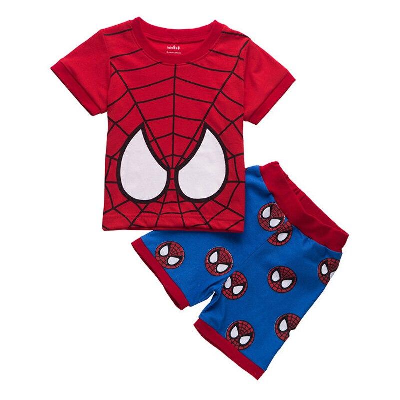 漫画スパイダーマン子供のパジャマセットt-シャツ ショートパンツ男の子コットンパジャマ半袖ホームの服子供レジャー着用