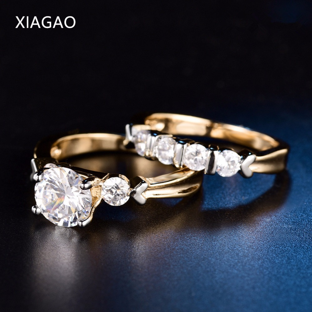XIAGAO Luxury 2 Pcs/Set Wedding Ring Set for Women Jewelry Gold Color AAA Cubic Zirconia Finger Rings Ladies Engagement Ring