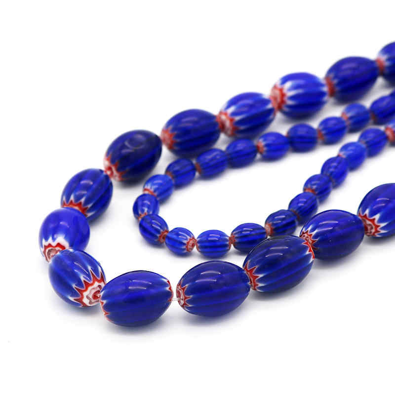 Whosale and Retail Royal Blue Color Oval Millefiori Lampwork Beads Rice Beads For DIY Braceelt & Necklace Jewelry Beads