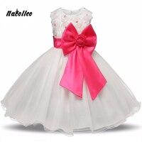 高品質レースガールドレス子供ドレスパーティー夏プリンセス女の赤ちゃんウェディングドレス誕生日ビッグ弓ピンクのため100-160