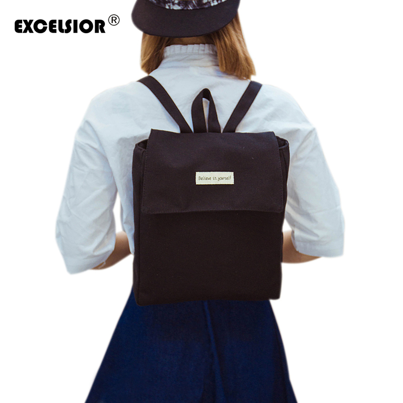 EXCELSIOR 2017 New Japanese Canvas Solid School Backpack For Women Young Girl Lona Escolar Mochila Feminina Women Backpacks women backpack solid schoolbags backpacks for teenage girls hot lona escolar mochila feminina backpack women mochilas mujer 2017