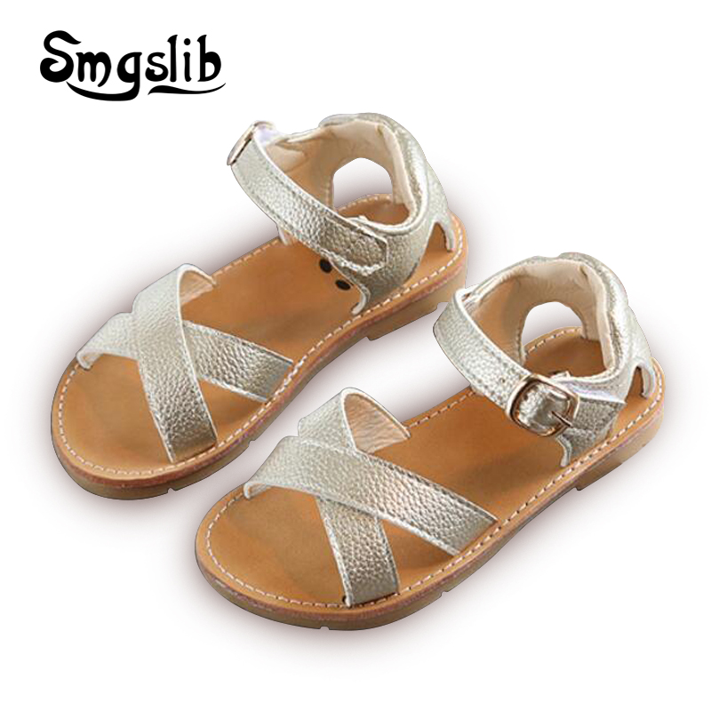 Children Sandals 2018 Summer Beach Boys Pu Leather Shoes Kids Girls Casual Shoes  Toddler Gladiator School 7d87fe3fc28a