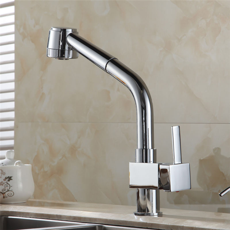 Chrome Silver Brass Kitchen Sink Faucet Tall Pull Out