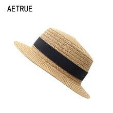 Aetrue Sun sombreros para hombres mujeres paja sombreros de verano playa  marca señora playa Panamá casquillo 58883bb956c