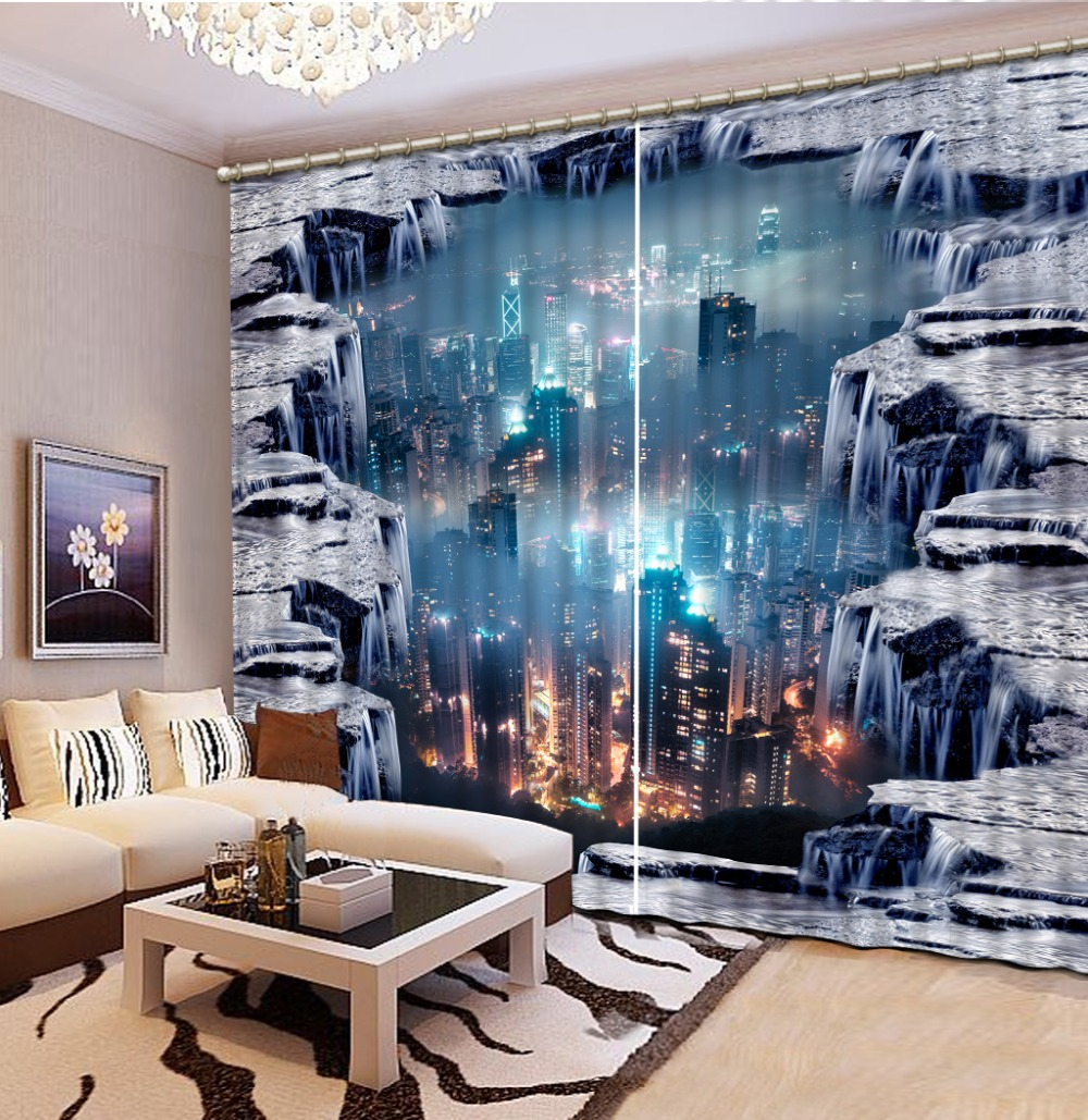 . US  48 45 49  OFF modern bedroom curtains City night scene short curtains  home decor japanese style curtains  in Curtains from Home   Garden on