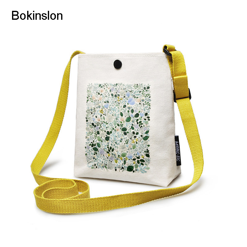 Bokinslon Crossbody Bags For Woman Canvas Small Fresh Women Shoulder Bags Literature And Art Printing Female Bags literature and cinema