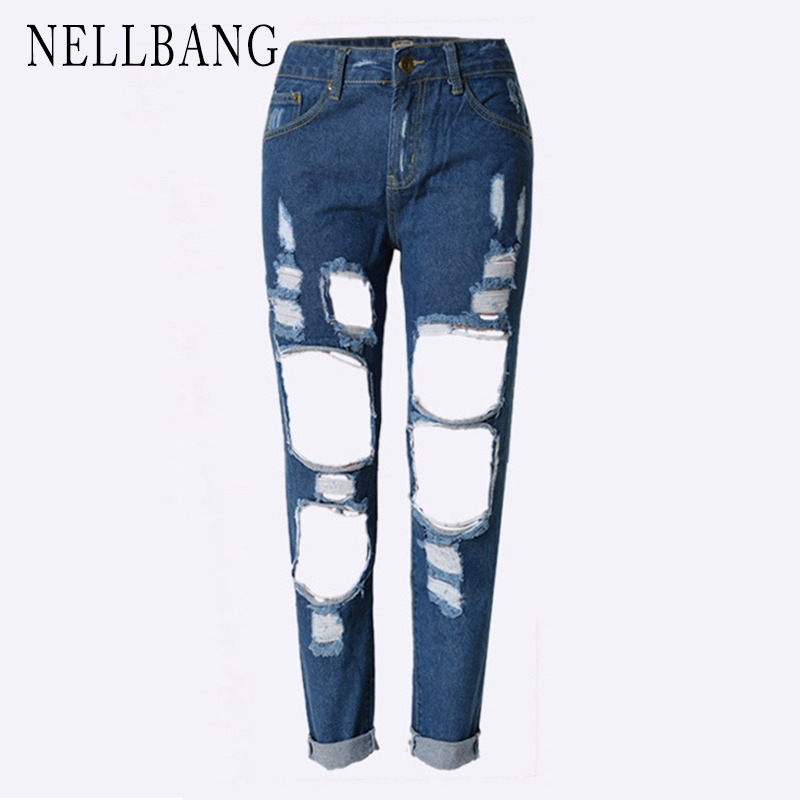 NELLBANG Hole Vintage Loose Straight denim Washed casual ankle-length mid-waist women jeans streetwear pants 2017 new fashion new summer vintage women ripped hole jeans high waist floral embroidery loose fashion ankle length women denim jeans harem pants
