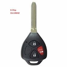 Новый Uncut Дистанционного Ключа Fob 3 Button 314.3 МГц G Чип для 2010-2015 Toyota Yaris 4 Runner Rav4