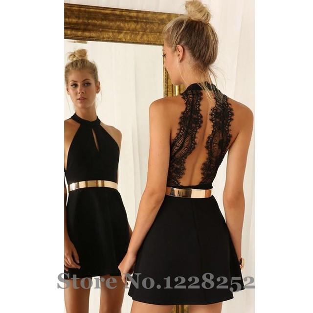180afe294 Sexy negro corto vestidos fiesta con el Metal de la correa cabestro escote  de encaje gasa