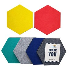 6 Warna Hexagon Papan Buletin, Merasa Cork Board Ubin Papan Pin Dekorasi Dinding Foto, Memo display (7X6.1X0.32 Inci)(China)