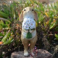 """Милое декоративное украшение """"Кролик"""" в деревенском стиле, скульптура животных из смолы, наружное украшение сада, микропейзаж, модель кролика, кукла, подарок"""