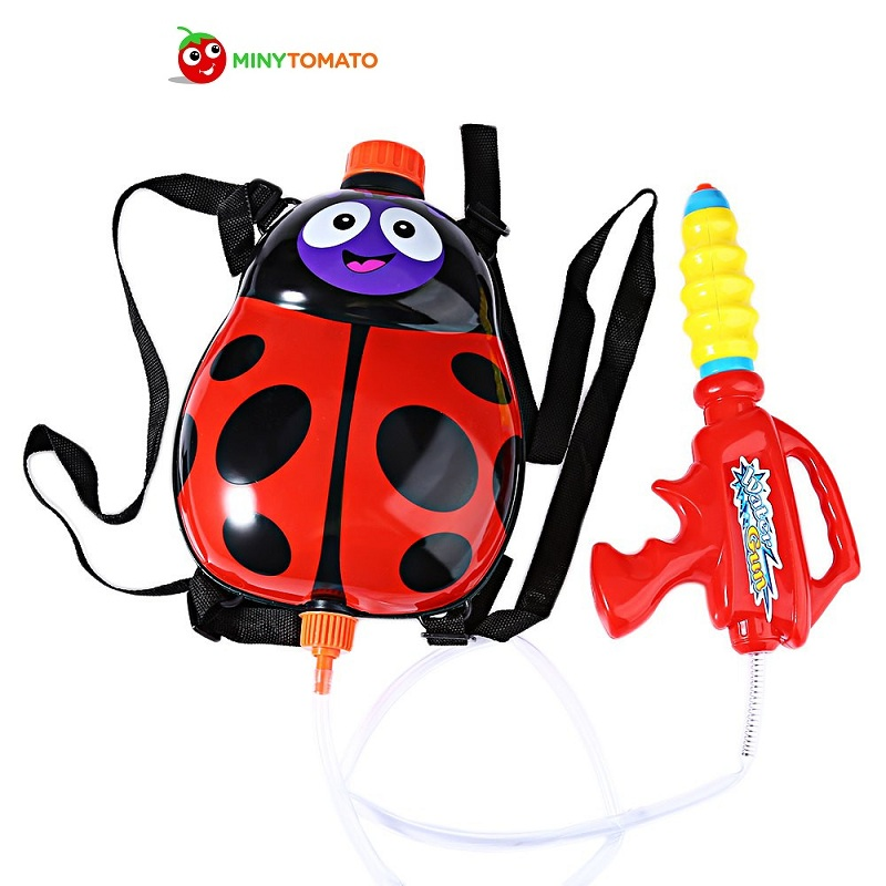 2017 Kids Cute Ladybird Outdoor Super Soaker Blaster Backpack Pressure Squirt Pool Toy Fun Sports Summer Swimming Pool Battle