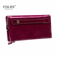 New Women's Large Capacity Soft Oil Wax Leather Wristlet long Zipper Around Wallet Smartphone Cowhide Clutch with Handheld Belt