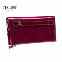 New Women s Large Capacity Soft Oil Wax Leather Wristlet long Zipper Around Wallet Smartphone Cowhide