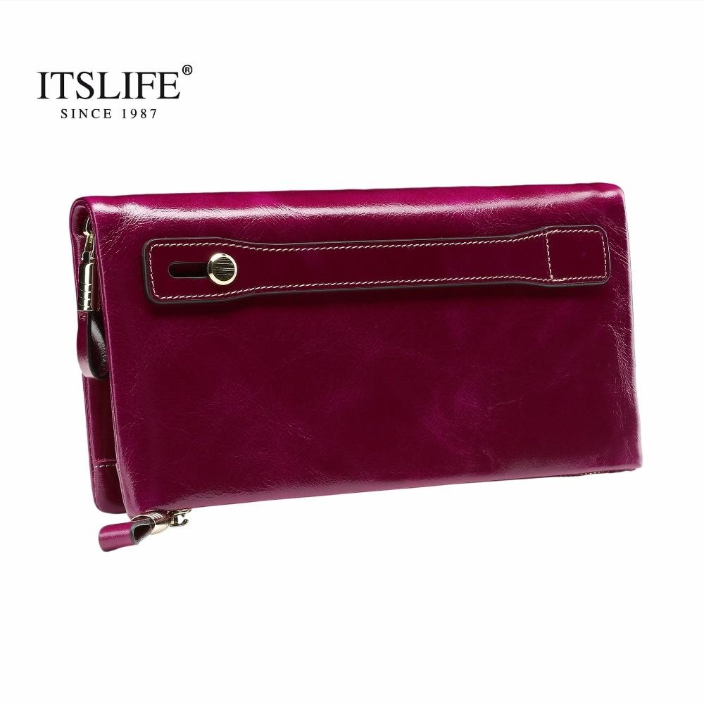 New Women s Large Capacity Soft Oil Wax Leather Wristlet long Zipper Around Wallet font b