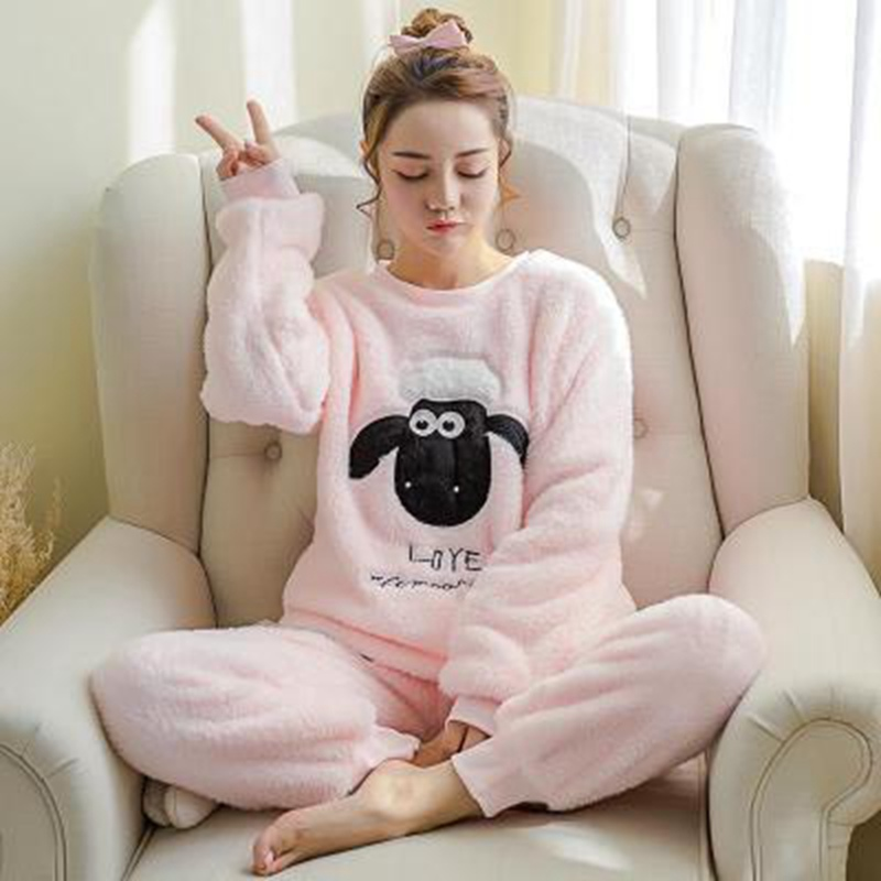 2 PIECE Cartoon   Pajama     Set   Nightwear Pijama Home Suit women lingerie Flannel Winter Pyjama Cute sheep Full Length Warm