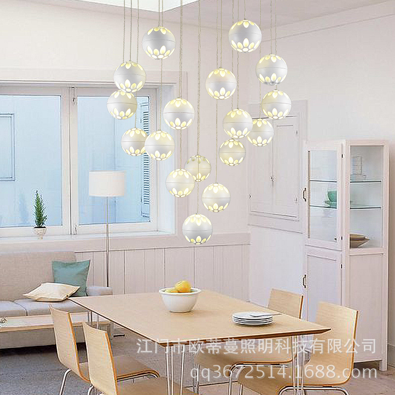 цена на modern creative carved aluminum led 1/5/6/12 heads pendant light for living room dining room AC 80-265V 1059