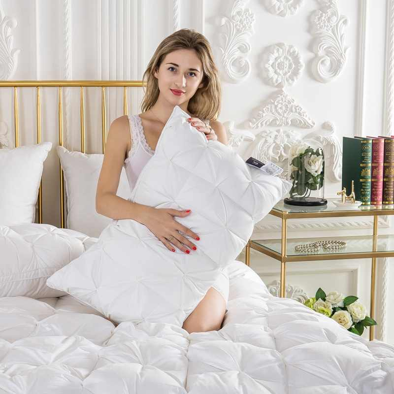 TUTUBIRD Goose/утка вниз постельные принадлежности подушки белый/синий/розовый/коричневый Хлопковый чехол мягкий французский Стиль форма бусины спальный заполнитель для подушек