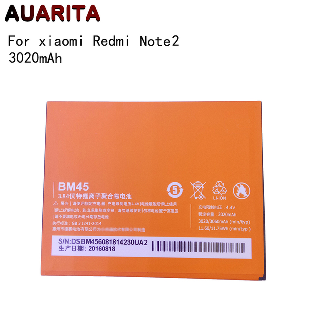 1pcs battery for redmi note 2 BM45 Phone Battery For Xiaomi RedMi Note 2 Bateria Hongmi Real 3020mAh Mobile Replacement Battery