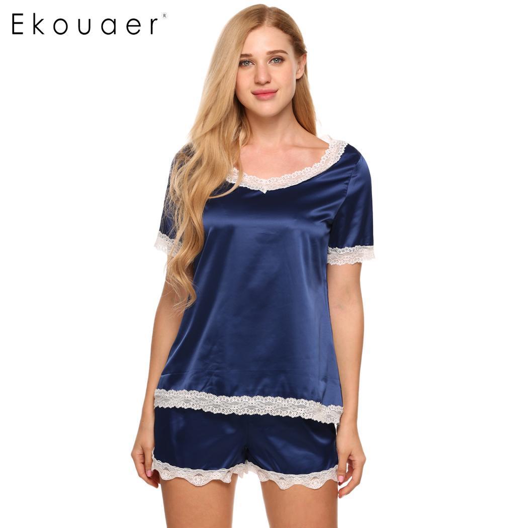 Ekouaer Short Satin   Pajamas     Set   Lingerie Nightwear Women V-Neck Short Sleeve Lace-Trim Tops and Shorts Female Sleepwear   Sets
