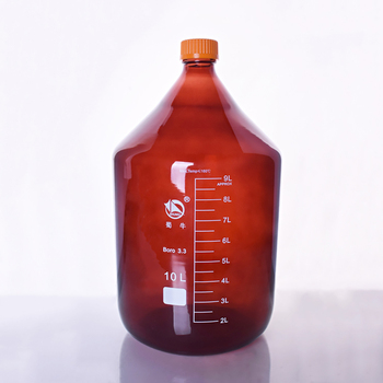 Brown reagent bottle,With yellow screw cover,Borosilicate glass 3.3,Capacity 10000ml,Graduation Sample Vials Plastic Lid