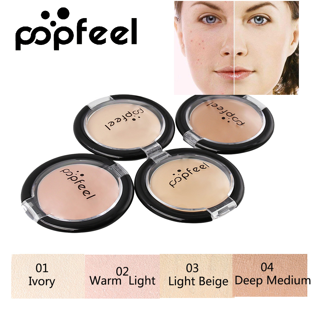 Popfeel Brand 4 Colors Concealer Cream Contour Palette Kit Professional Makeup Bronzer Highlighter Powder Trimming Face Brighten image