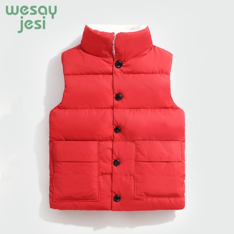 Kids Vest 2018 Autumn Winter Warm Children Fashion Sports Cotton Sleeveless jacket Boys Girls Solid Color casual Waistcoats
