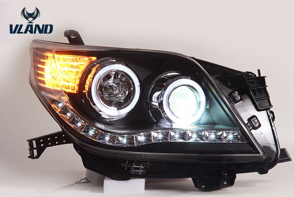 Free shipping Vland Car Lamp for Toyota Prado LED Headlight LED Angel-eye DRL Bi Xenon Lens Plug and Play for Prado 2010 free shipping vland car lamp for toyota