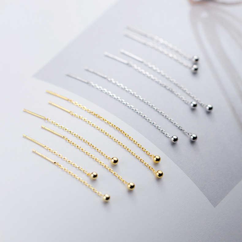 Новый 100% 925 пробы серебро длинные серьги с бахромой золото крошечный шарик Нежный Серьги модные для Для женщин девушка кулон ювелирные