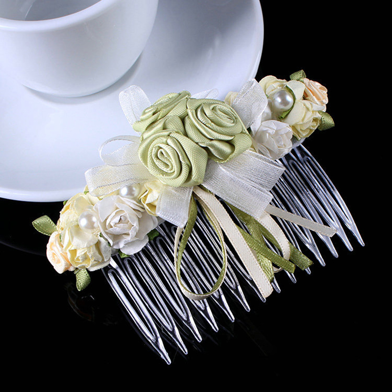 hair combs hair clip bead Bow For Girl Kids Cute flower Pearls Hair Bow Clips Beads Hairgrip Hair Accessories flower girl crown