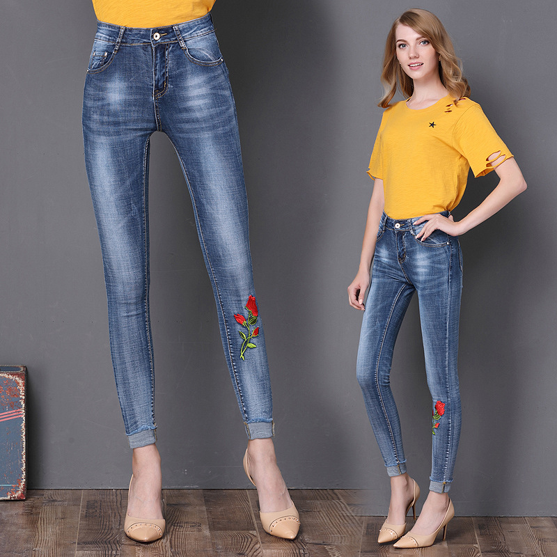 New Embroidered Flower Skinny Stretch High Waist Jeans Without Ripped Woman Floral Denim Pants Trousers For Women Jeans J18 Z35 new embroidered flower skinny stretch high waist jeans without ripped woman floral denim pants trousers for women jeans j18 z35