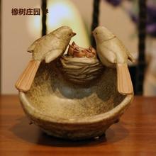 Америка керамика bird гнездо фрукт плита винтажный сушеные фрукт плита домашнее украшение плита мыло коробка