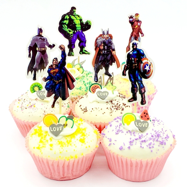 24pcs Avengers Hero Superman Captain America Batman Iron Man Cupcake Topper Pick Kids Boy Birthday Cake Decoration Party Supply