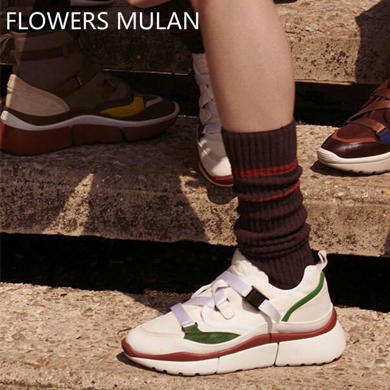 Low-Top Multi Color Sneakers New Suede And Leather Casual Shoes Chunky Rubber Sole Lace Up Ultra Women Shoes