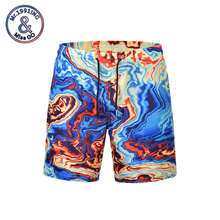2019 new euro code men's printing beach shorts male surf boardshorts for swimwear quick dry elastic waist loose short pants(China)