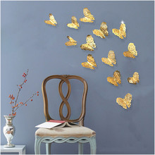 12pcs 3d metal hollow butterfly wall stickers living room bedroom  dimensional home simulation decoration