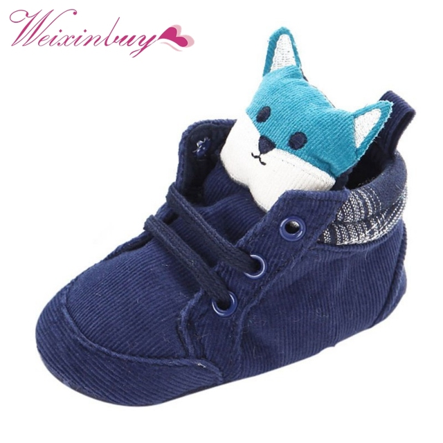 1 Pair Autumn Baby Shoes Kid Boy Girl Fox Head Lace Cotton Cloth First Walker Anti-slip Soft Sole Toddler Sneaker  2