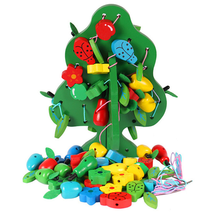 Wooden toys Children's educational toy wooden Beaded rope ...