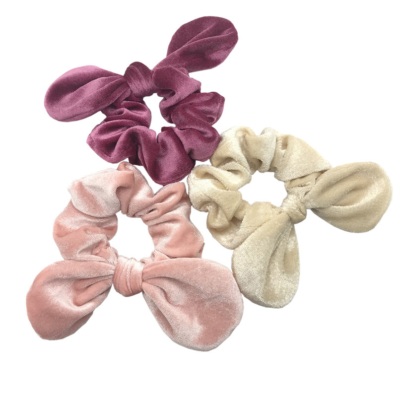 1pc FABRIC HAIR SCRUNCHIE BAND GOLD CORD  PIPED EDGING WHITE BLACK OR CORAL PINK