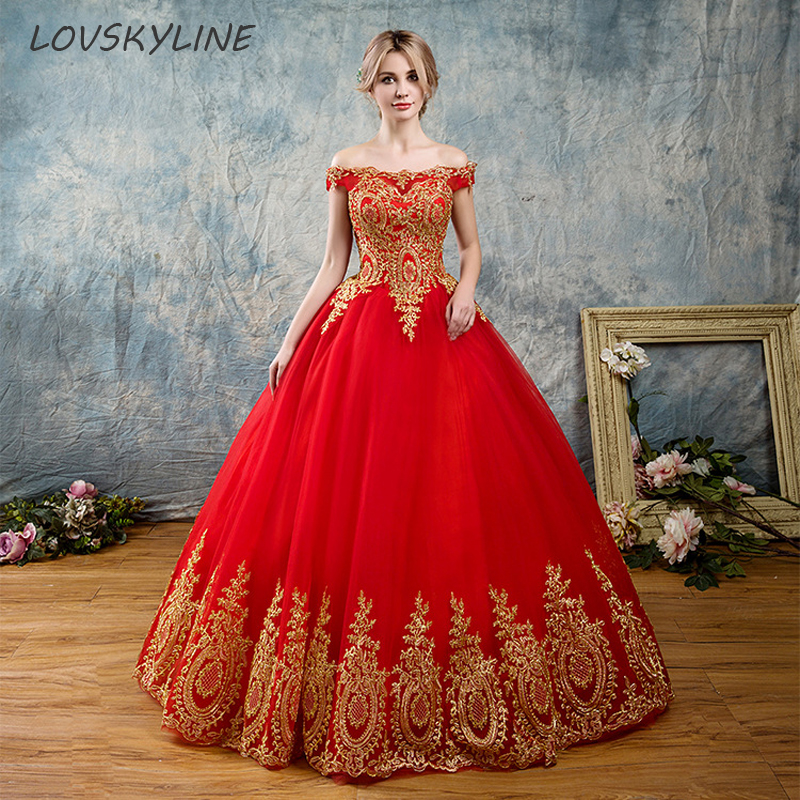 2018 Vintage Off Shoulder Lace Boat Neck Red Wedding Dresses Floor Length Plus Sizes Ball Gown Robe De Mariee Vestido De Noiva