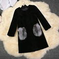2016 Female Winter 100% Real Fur Coat Genuine cashmere wool fur coat outwear solid long Black luxury Real Fox Fur Pocket M L XL