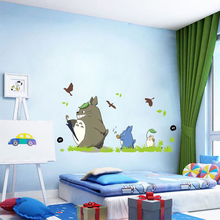 Фотография Kids bedroom cute totoro sticker removable 3d cartoon nursery wall decal adhesive baby room wall pictures