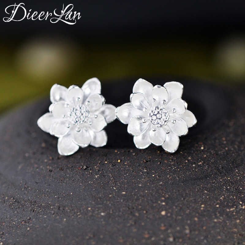 New Design 925 Sterling Silver Lotus Flower Earrings For Women Girls Gift Hot Sale Fashion sterling-silver-jewelry