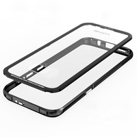 Aluminum Metal Bumper For Samsung Galaxy S8 Case Transparent Toughened Glass Cover Camera Protect Case For