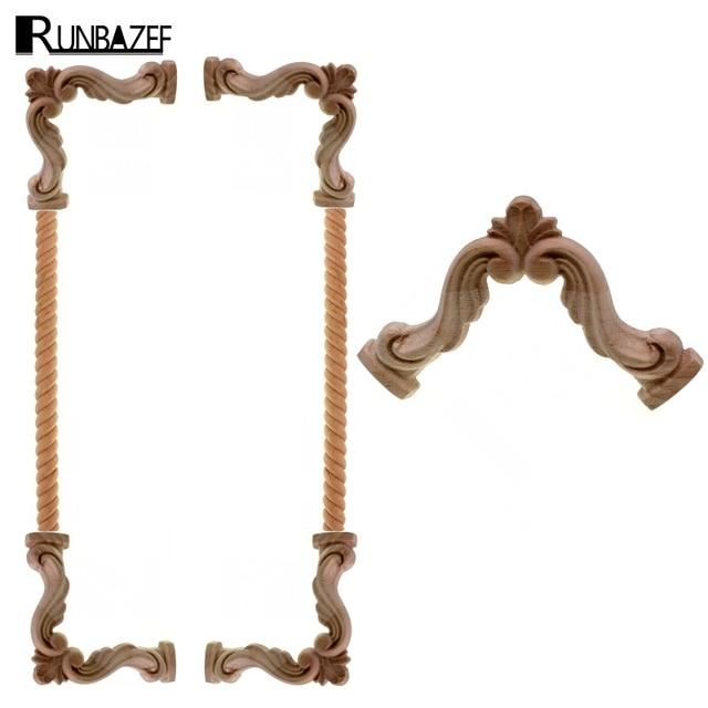 RUNBAZEF Decorative Wood Appliques Carved Decal Corner Onlay Frame For  Vintage Home Furniture Wall Cabinet Door