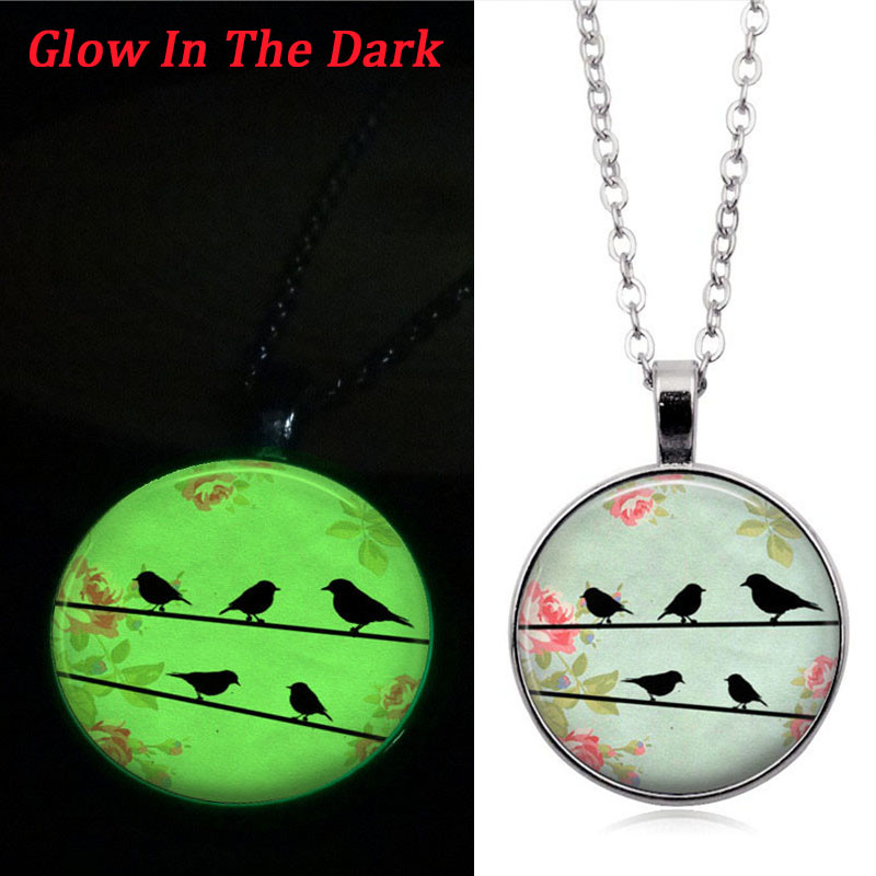 Glow In The Dark Necklace Love Birds Rose Photo Cabochon Glass Pendant Luminous Necklace Silver Chain Gifts for Women