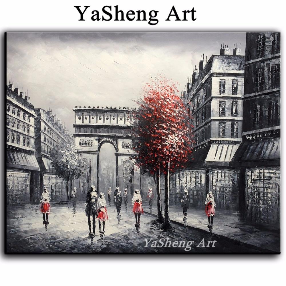 Yeni əl işlənmiş yağlı boya qara və ağ qırmızı Eyfel Paris - Ev dekoru - Fotoqrafiya 2