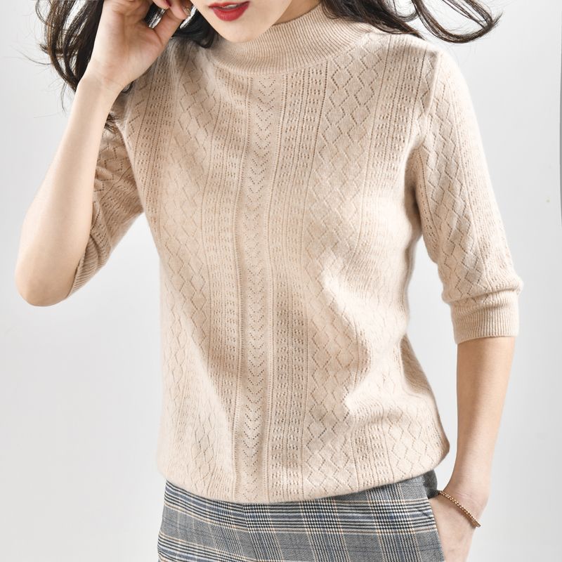 Autumn Fashion Women Sweater 100 Cashmere And Wool Short Sleeve Women Tops Hollow Out Half Turtleneck
